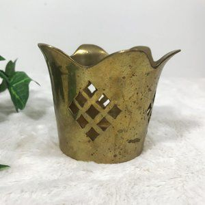 Vintage Brass Cut Out Candle Holder